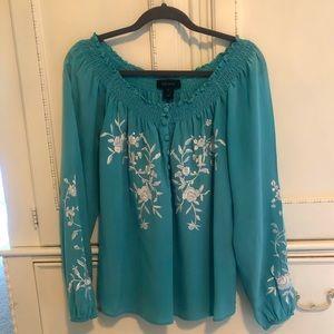 Karen Kane 100% Silk Size Small Turquoise Blouse